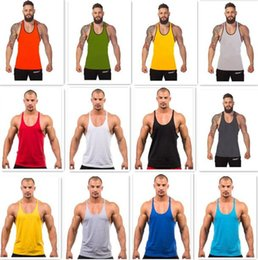 Vestes De Retour Pas Cher-100PCS 12 couleurs Cotton Stringer Bodybuilding Equipment Fitness Gym Tank Top Chemise Solid Singlet Y Retour Vêtement de sport Vest D628