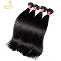 thick virgin remy hair extensions Canada - Peruvian Malaysian Indian Brazilian Straight Virgin Human Hair Weave Bundles Unprocessed Remy Human Hair Extensions Natural Color Thick Soft