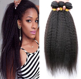 natural kinky human hair Canada - 9A Malaysian Kinky Straight Hair 3Pcs Lot,Coarse Yaki Hair Wefts,Natural Black Afro Kinky Straight Weave Italian Yaki Human Hair Bundles