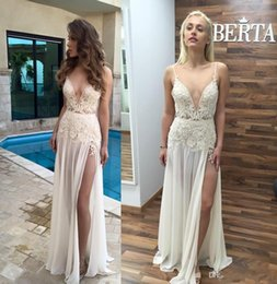 berta evening gowns 2019 - New Berta Sexy Split Evening Gowns Plunging V neck Cheap Backless Lace Applique Prom Party Dress 2019 Chiffon Formal Cel