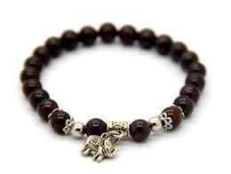 China Fine Jewelry Wholesale 10pcs lot Natural Onyx Garnet Semi-Precious Stone Beads Elephant Lucky Charm Bracelets Girl's Gift cheap beaded precious stone bracelets suppliers