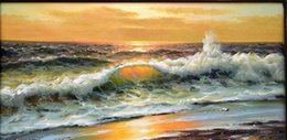 Oils Art Canada - GODEN SEA SURF,Free Shipping,Pure Hand-painted Seascape Art oil painting On Canvas MUSEUM QUALITY in any size customized