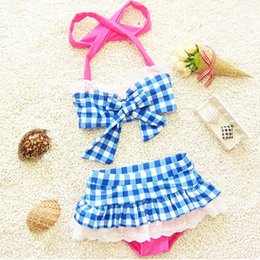 Girl Kids Swimming Suits Wholesale NZ - Children's Girls swimwear suit New summer the baby Bathing Korean Fashion casual wave point Swim with clothes kids swinwear