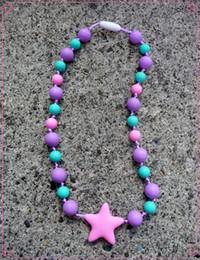$enCountryForm.capitalKeyWord NZ - 2016 New FDA Silicone Teething Pendant Nursing Chewelry Necklaces Kids Chew Beads Chewable Teething Necklace -Kids Starlight