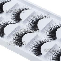 Venta al por mayor de Al por mayor-5 pares de señoras de las mujeres del maquillaje gruesas pestañas postizas pestañas largas negro Nautral hecho a mano herramientas de belleza de maquillaje