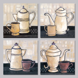$enCountryForm.capitalKeyWord Canada - 4pcs set still life coffee bottle tea decoration wall art picture glasses cup posters Canvas Painting for living room unframed