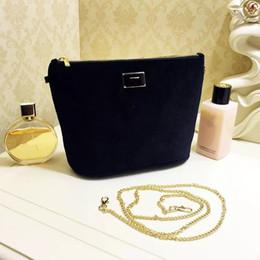 Bag Brand logos online shopping - velvet handbag with brand logo pattern soft storage bag makeup bag with chain