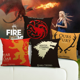 """Car Sofa Couch Canada - Cushion cover """"Game of Thrones"""" pillow case linen cotton pillow cover gift decorative sofa couch car cushion case for fans 45x45cm"""