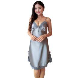 08454249063 Wholesale- 2017 Sexy Women Silk Satin Night Dress Sleeveless Nighties  V-neck Nightgown Plus Size Nightdress Lace Sleepwear Nightwear