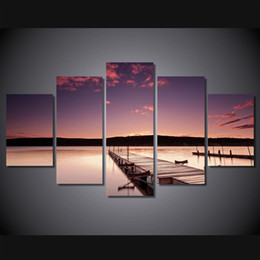 $enCountryForm.capitalKeyWord NZ - 5 Pcs Set Framed Printed The setting sun wallhaven Painting Canvas Print room decor print poster picture canvas Free shipping ny-4408