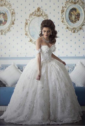 2faa7f1b0 2019 Arabian Design Sweetheart Appliqued Beaded Floral Short Sleeve Puffy  Vestidos Ball Gown Wedding Dresses Vestido De Novia Custom Made