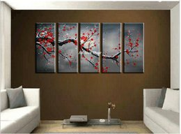 Cherry Blossom Picture Canada - 5 piece canvas wall art cheap abstract wall decor red cherry blossom handmade picture oil painting set supplies home decoration