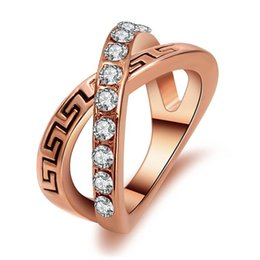 Rose Gold Cluster Engagement Rings Canada - Rose Gold plated trendy engagement wedding Imitation crystal Zircon ring overlapping intersect cross ring Letter X rings for women 2017 j444