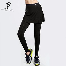 Barato Calças De Contorno Por Atacado-Venda por atacado - New Sports Women Fake Two-Pieces Running Leggings Hot Outdoor Fitness e saias de tênis Calças New Gym Ladies feminino de Badminton