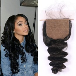 Discount virgin hair closure bleached knots - Cheap Human Hair Closure Bleached Knots Virgin Brazilian Loose Wave Silk Base Closures With Baby Hair G-EASY