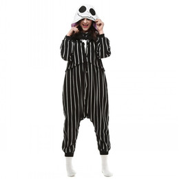 China Cosplay Anime The Nightmare Before Christmas Jack Skellington Skeleton Costume Onesie Party Christmas Pajamas Plus Size S-XL Jumpsuit Free supplier japanese party suppliers