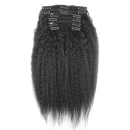Kinky Straight Hair For UK - Brazilian Clip in Human Hair Extensions Kinky Straight Clip ins for African American 100%Real Hair Clip in Extensions