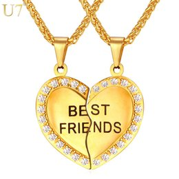 $enCountryForm.capitalKeyWord Canada - unique New Couple Pendant Forever Best Friend Heart Necklace Gold Plated Stainless Jewelry Necklace Girlfriend Brother Necklace P821