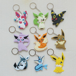 Chinese  Poke Figures Keychains Toys 23 Styles Kids Pikachu Sylveon Charmander Bulbasaur Jeni Turtle Keychains Keyring Backpack Pendant DHL FREE SHIP manufacturers