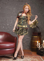 Army Women Costumes NZ - 2017 Hot new women's high-quality camouflage army uniforms with a hat set Cosplay police adult sexy Halloween costumes