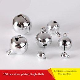 Argento Jingle Bells Ciondolo appeso Albero di natale Ornamento Decorazione natalizia Gioielli fai da te Giudizio Accessori artigianali Charms Perline 6mm / 8mm