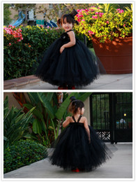 Barato Black Skirt Dress Venda-À venda! Flower Girl Dresses com Tulle Andar de comprimento vestido de baile Lace Straps Flower Arcos Lovely Tutu Preto Saia Flower Girls Vestidos # DL80018