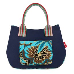 wholesale fashion cotton handbags UK - Hot Selling Canvas National Style Women Totes Bags Fashion Casual Portable Handbags Flower Printing Top Quality Free Shipping