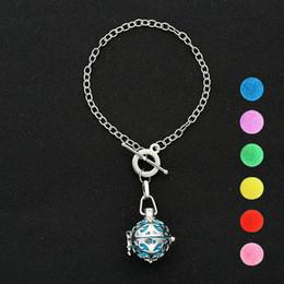 Hollow Perfume Lockets Australia - Women Perfume Charm Bracelets Silver Hollow Flower Aromatherapy Pendant Essential Oil Diffuser Locket Bracelets Sliver Jewelry for Gifts