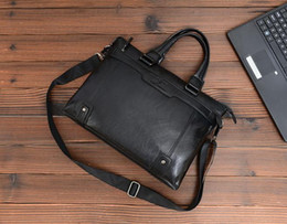 Brown laptop Bags online shopping - New Genuine Leather inch Laptop Crossbody Men Messenger Bags Leather Office Bags Document Briefcase Travel Bags