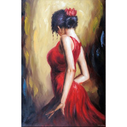Vente en gros Figure peintures à l'huile abstraites danse fille art de femme pour la décoration à la maison peint à la main