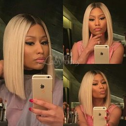 $enCountryForm.capitalKeyWord NZ - Nicki Style Blonde Full Lace Human Hair Wigs Dark Roots #613 Straight Lace Front Wig Bob Two Tone Wig For Black Women