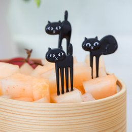 Wholesale 6pcs set Mini Animal Fork Fruit Picks Cute Cartoon Cat Children Fork Bento Lunch Box Decor Accessories Black Color