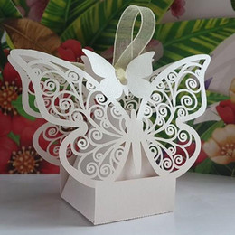 50Pcs Butterfly Hollow Paper Candy Boxes Gift Bags DIY Wedding Favor Baby  Shower Boxes For Wedding Decoration Supplies White Pink Red Color