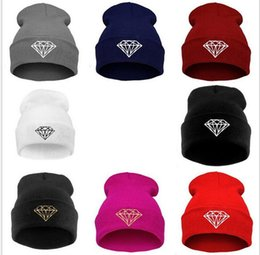 Wholesale Korean style diamond beanie winter warm caps Hip hop hat knitted yarn women Lovers cap skiing beanie caps outdoor sport hat