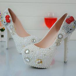 $enCountryForm.capitalKeyWord NZ - Cartoon Hello Kitty Rhinestone Wedding Shoes White Pearl Spring Autumn Lady Party Shoes Anniversary Party Prom Heels Big Size 45