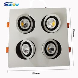 Super Bright 7W X 4 Four Head COB Ceiling Lights 360 Degree Square Rotary Gimbal Led Recessed Grid Downlight For Living Room Spotlight Discount