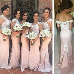 Barato Vestido De Renda Rosa Claro Sereia-Appliques Long Vestidos de dama de honra Mermaid Prom Dress Blush Light Pink Vestidos de dama de honra Lace Evening Dress Gowns