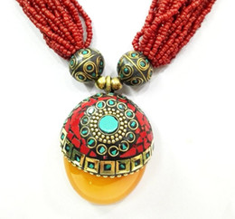 Discount american indian turquoise pendant - 18'' Ethnic Red Bead Multilayer Necklace Pendant Tibetan Silver Amber oyzz-0013