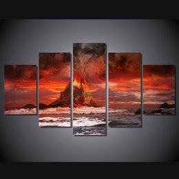 $enCountryForm.capitalKeyWord NZ - 5 Pcs HD Printed mountains volcano sea ocean Painting Canvas Print room decor print poster picture canvas sail boat painting
