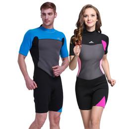 Lycra Diving Suits Canada - Men & women 2mm Premium Neoprene Short Sleeve Spring Suit for Male Female Diving Scuba Surfing Snorkeling