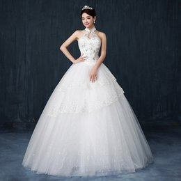 Crystals Embroider Wedding Dress Canada - Neck Illusion Back Luxury Crystal Wedding Dresses Lace Cathedral Lace-up Back Bridal Gowns A-Line Vintage White Ivory Long Tulle Wedding d