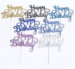 Glitter papers online shopping - Gold Silver Glitter Happy Birthday Party Cake toppers decoration for kids birthday party favors Baby Shower Decoration Supplies