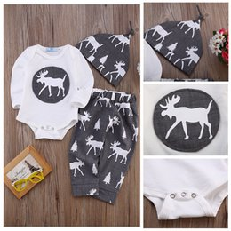 Kids Hot Pants Set Canada - hot selling baby suit Newborn Baby Boys Girls Deer fashion logo printed long sleeve Romper Tops+Long Pants+Hat 3PCS Outfits kids Set Clothes
