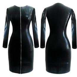 $enCountryForm.capitalKeyWord Canada - Plus Size Sexy Club Faux Leather Dress Women Clothes Black Snakeskin PVC Bandage Dress Zipper Bodycon Mini Fashion Dress XL 6XL