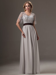 grey short chiffon bridesmaid dresses Canada - On Sale Silver Grey Long Modest Bridesmaid Dresses With Cap Sleeves Beading Lace Chiffon Party Evening Dresses Gowns With Sleeves