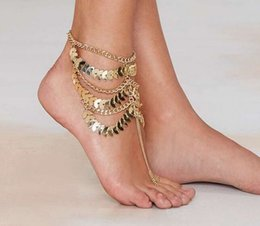 Disc Bracelet Australia - 2016 Fashion Sexy Woman Boho Leaf Multi Row Gold disc coin Ankle Chain Anklet Bracelet Foot Jewelry Barefoot Sandals