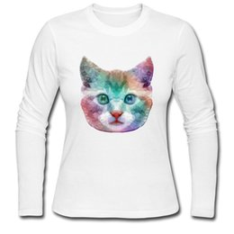 best clothing for women UK - Glass cat printed Tee shirts gradient colors girl's sleeve long T shirt kitten lovers best design clothes Bright eyes for ladies