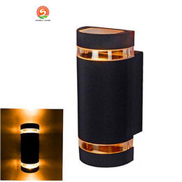Discount outdoor lighting sconces - 12W semi-Cylinder Capsule outdoor wall lamp light porch Sconce light waterproof with 2 heads light up and down wall lamp