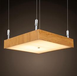 Square Kitchen Designs Australia - 2016 new design modern LED iron wood pendant light AC85-265V LED square wood texture lamp for bar resraurant livingroom bedroom dacoration