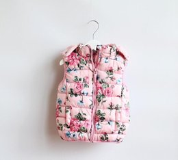 Winter Waistcoats for kids online shopping - Kids Girls pink floral waistcoat Baby girl fashion Hoodie cotton flower outwear for years kids